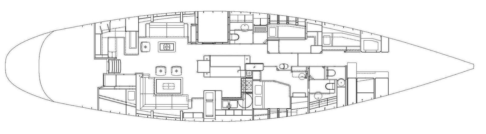 Plan of interior 1992 ROYAL HUISMAN 84' Cruising Sailboat 1255710