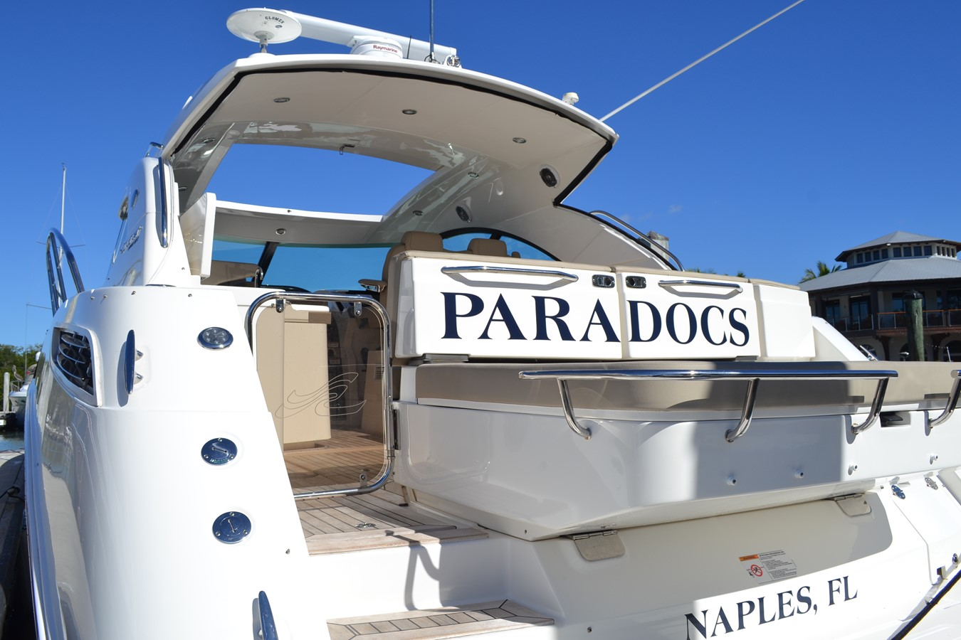 Swim Platform Looking up through transom and hardtop Sun Roof 2015 SEA RAY 410 Sundancer Motor Yacht 1685728