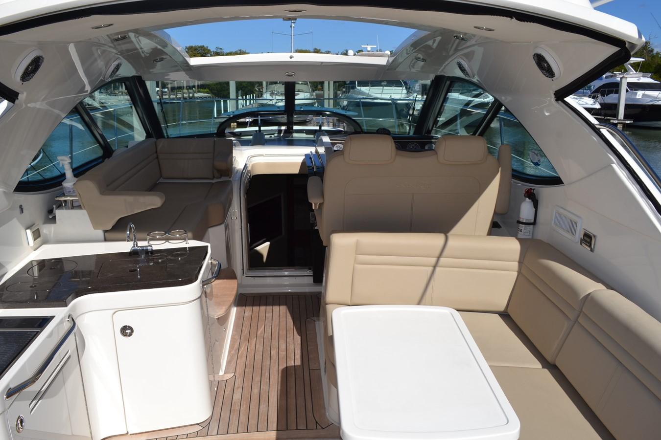 Aft cockpit Settee Looking Forward 2015 SEA RAY 410 Sundancer Motor Yacht 1685729
