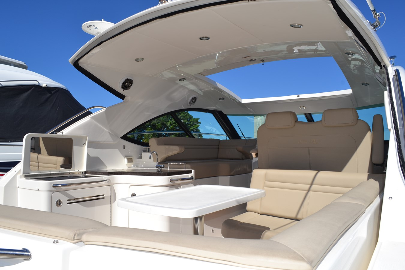 Fully Enclose Hardtop with Sunroof View from Cockpit 2015 SEA RAY 410 Sundancer Motor Yacht 1685731