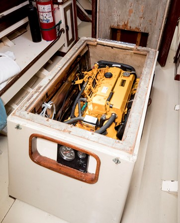 Engine Compartment, with a view of the recently installed 70HP diesel inboard 1964 LUDERS 12 Metre Racing Sailboat 1806638