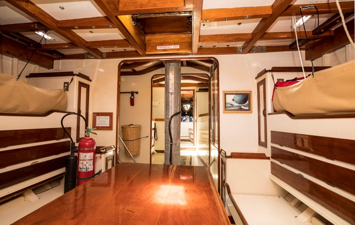 Main salon area, with a view of setee berths and storage 1964 LUDERS 12 Metre Racing Sailboat 1806639
