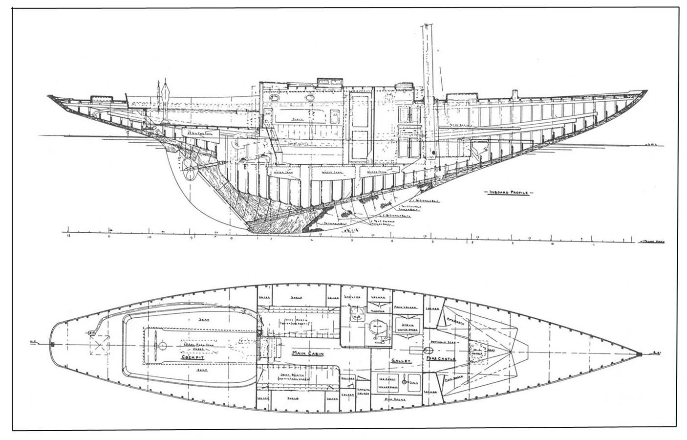 General Arrangement Plan 1947 NEVINS / SPARKMAN & STEPHENS S&S Sloop Classic Yacht 1883753
