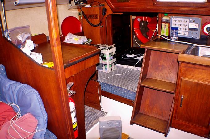 Companionway stairs, chart table and quarter berth 1977 CALGAN MARINE  Aft Cockpit 1975180