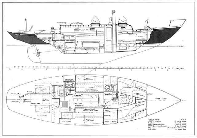 S&S Arrangement Plan (Stb. & Fwd. Berth) 1956 NEVINS / SPARKMAN & STEPHENS Nevins 40 Vintage 2015652