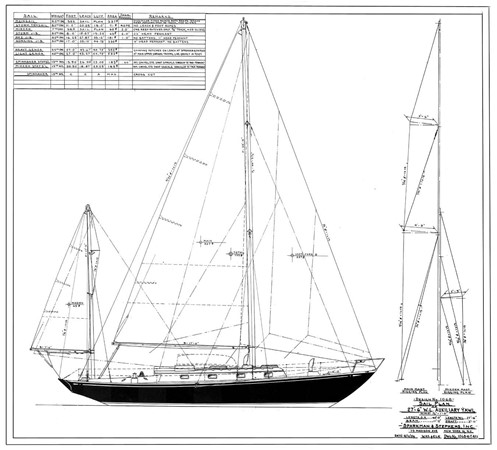 Sail Plan 1956 NEVINS / SPARKMAN & STEPHENS Nevins 40 Vintage 2015653