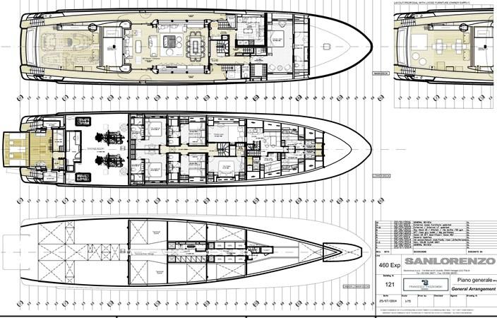 GA - Main deck, Lower deck, Tank deck 2016 SANLORENZO 460 EXP Expedition Yacht 2737525