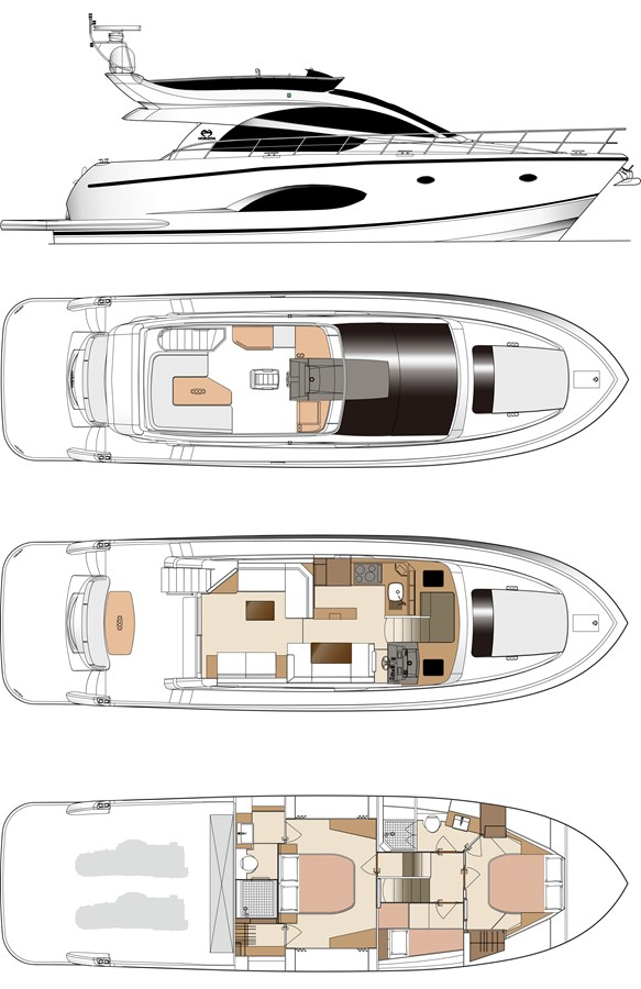Layout 2021 HORIZON E56 Motor Yacht 2205391