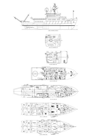 General Arrangement Plan 1974 AUROUX SHIPYARD Research Yacht  2223375
