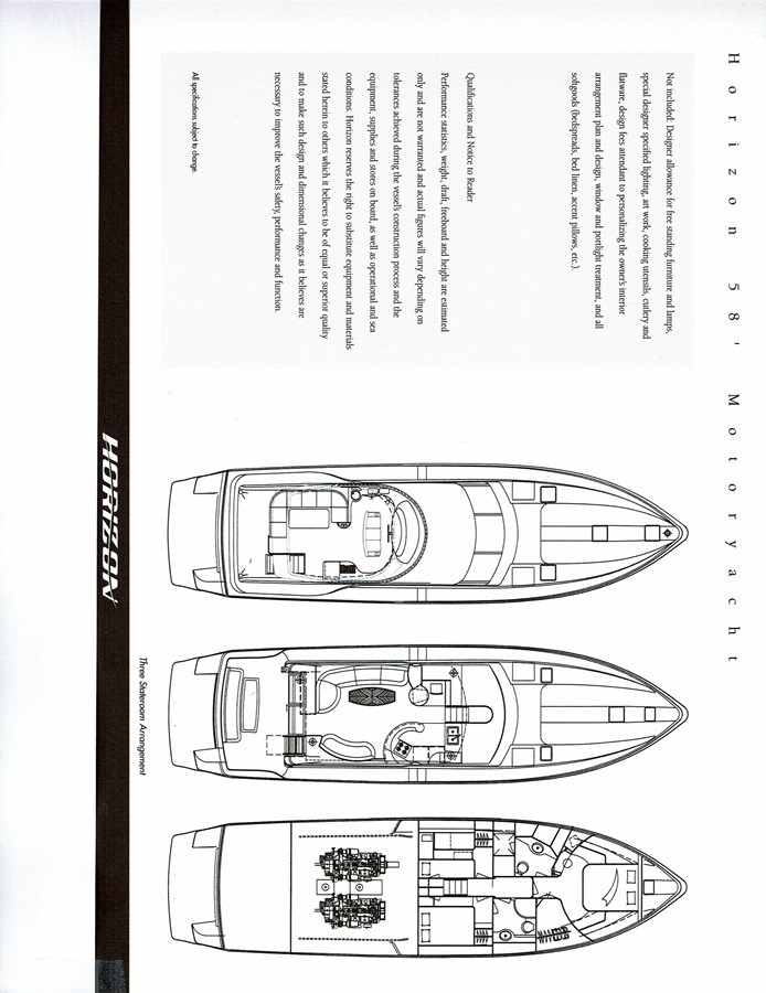 Layout - General Arrangement 2002 HORIZON Sedan Motoryacht Motor Yacht 2268677