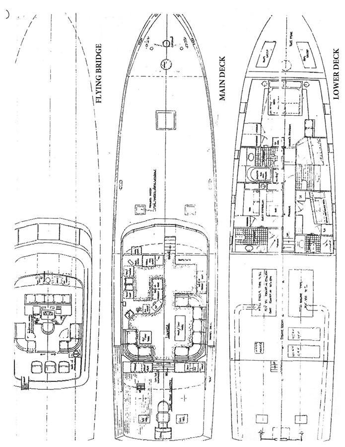 Layout 1985 FEADSHIP Yacht Fisherman Sport Fisherman 2322639