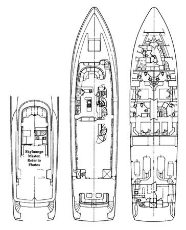 Layout 1992 NORTHCOAST YACHTS Tri-Deck Motor Yacht Motor Yacht 2374151