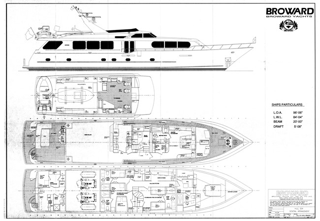 General Arrangement 2001 BROWARD Raised Pilothouse Motor Yacht 2463075