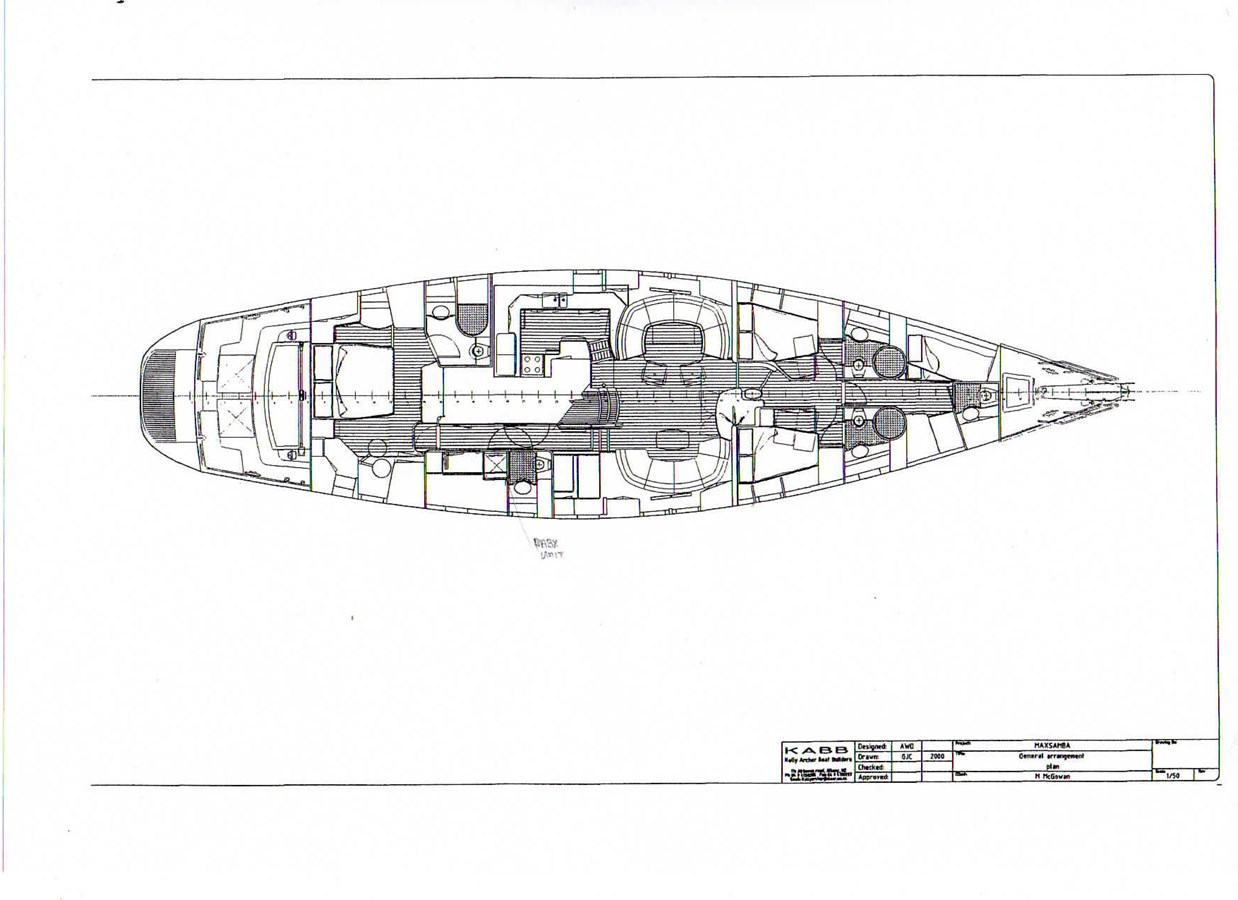 Line Drawing from Els 11 04 19 XXGA001 Flipped 2000 KELLY ARCHER Van de Stadt 78 Cruising Sailboat 2754345