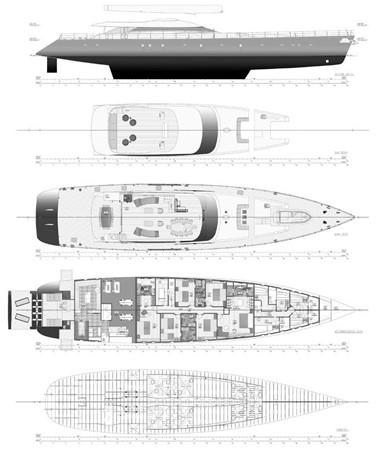 General Arrangement Plan 2019 ADA YACHT WORKS Twin Screw Flybridge Sailing Yacht Sloop 2624928