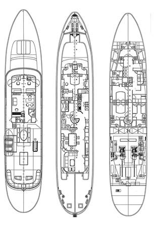 General Arrangement 2001 CUSTOM Classic Fantail Motor Yacht 2528483