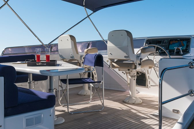 Seating area on flybridge with helm  2007 CUSTOM BUILT  Trawler 2461137