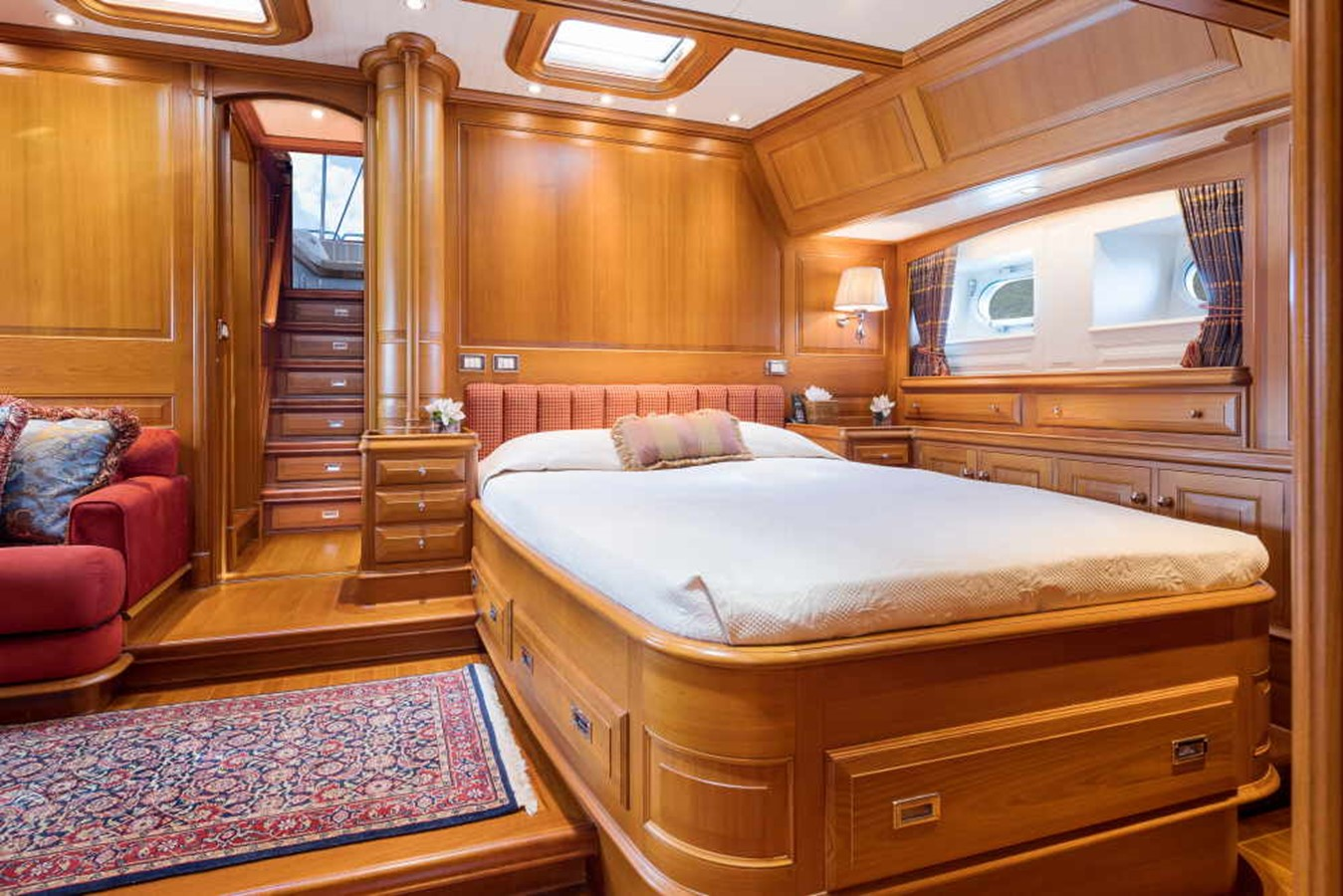 Master Stateroom View facing aft with stairs to Private Cockpit 1998 ALLOY Sailing Yacht  Cruising Sailboat 2486782