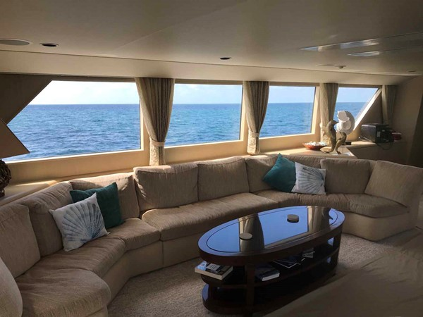 Salon Couch to Port 1990 BROWARD Custom Extended Motor Yacht 2499295
