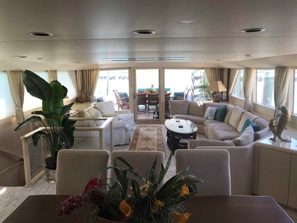 Dining Area Looking Aft 1990 BROWARD Custom Extended Motor Yacht 2499302