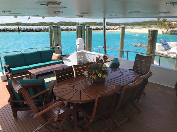 Aft Deck Dining 1990 BROWARD Custom Extended Motor Yacht 2499350