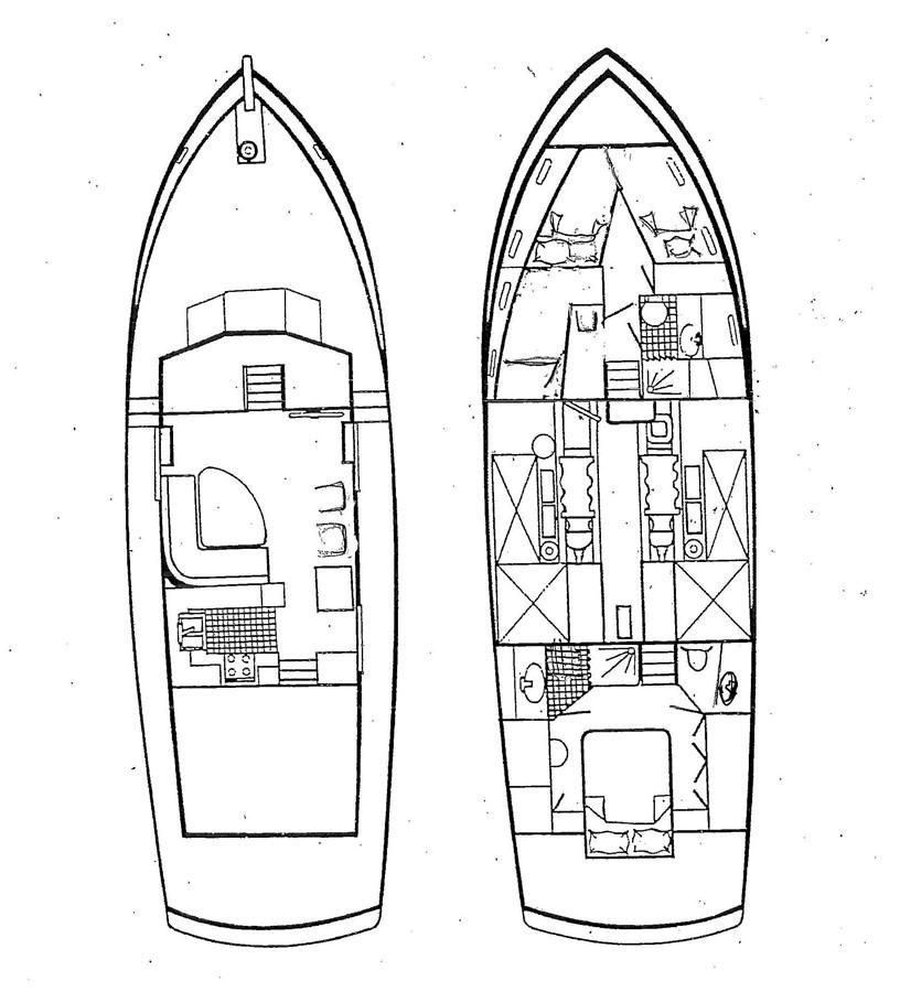 Layout 1983 DEFEVER Aft Cabin Motoryacht Trawler 2588142