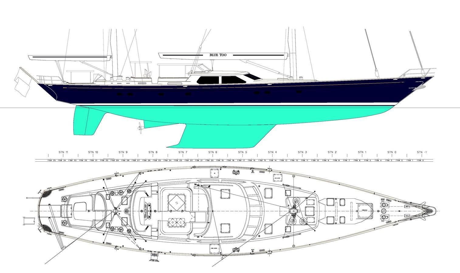 034 Blue Too Deck Plan 1998 ALLOY Sailing Ketch Cruising Ketch 2544049