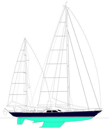 033 Blue Too Sail Plan 1998 ALLOY Sailing Ketch Cruising Ketch 2544048