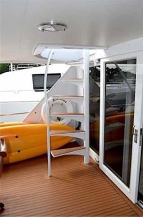 Aft Deck Boat Deck Stairs 1990 BROWARD Custom Extended Motor Yacht 2546492
