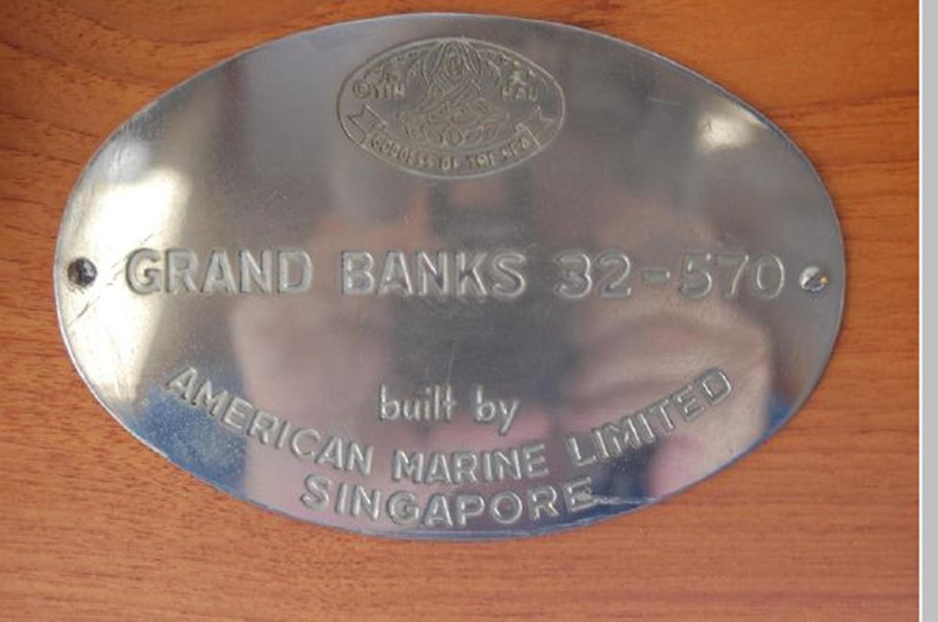 Grand Banks identity plate-32-530 1976 GRAND BANKS  Trawler 2555281