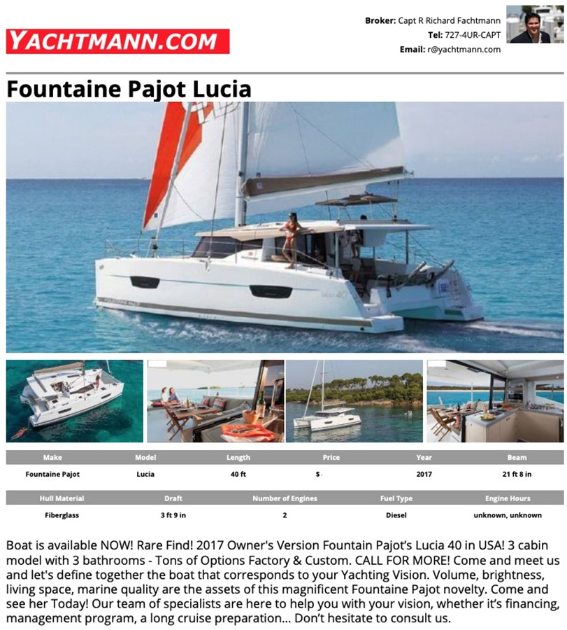 2017 Fountaine Pajot 40 - For Sale in the SE USA 2017 FOUNTAINE PAJOT Lucia Catamaran 2567478