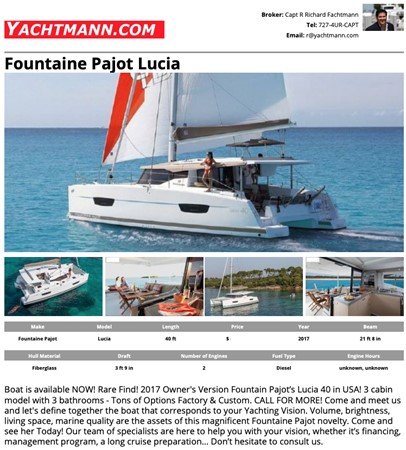 2017 Fountaine Pajot 40 - For Sale in the SE USA 2017 FOUNTAINE PAJOT  Catamaran 2567478