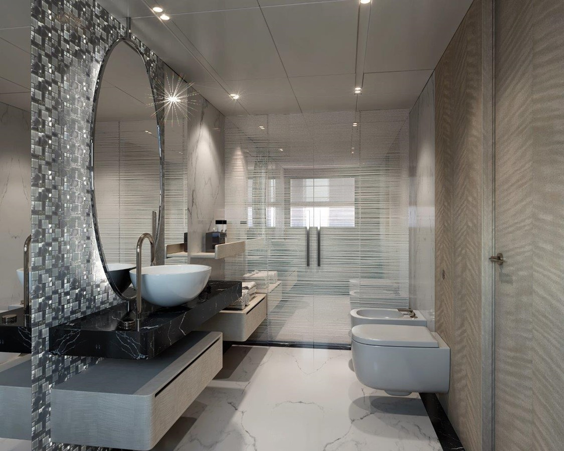 Master Bath - Contemporary Interior 2022 BENETTI Steel and Aluminum M/Y Motor Yacht 2604728