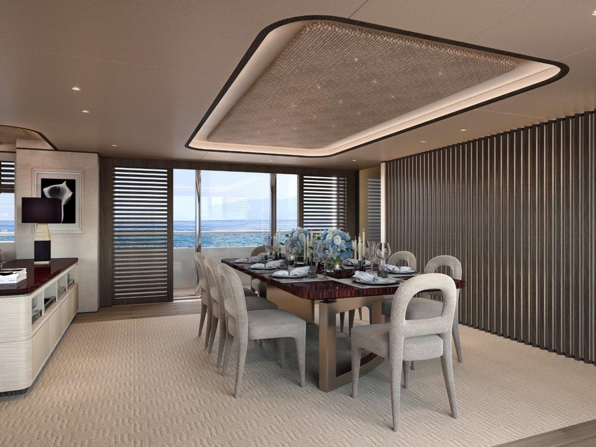 Dining Salon - Contemporary Interior 2022 BENETTI Steel and Aluminum M/Y Motor Yacht 2604730