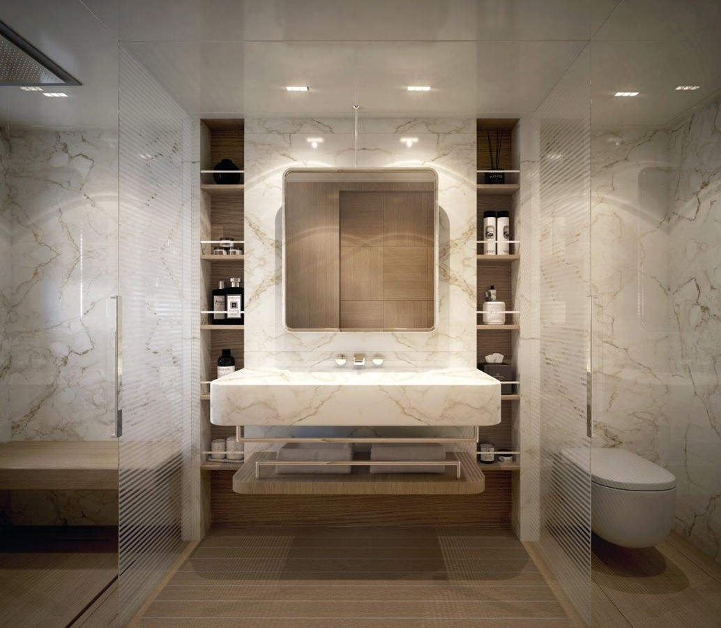 Master Bath - Classic Interior 2022 BENETTI Steel and Aluminum M/Y Motor Yacht 2604733