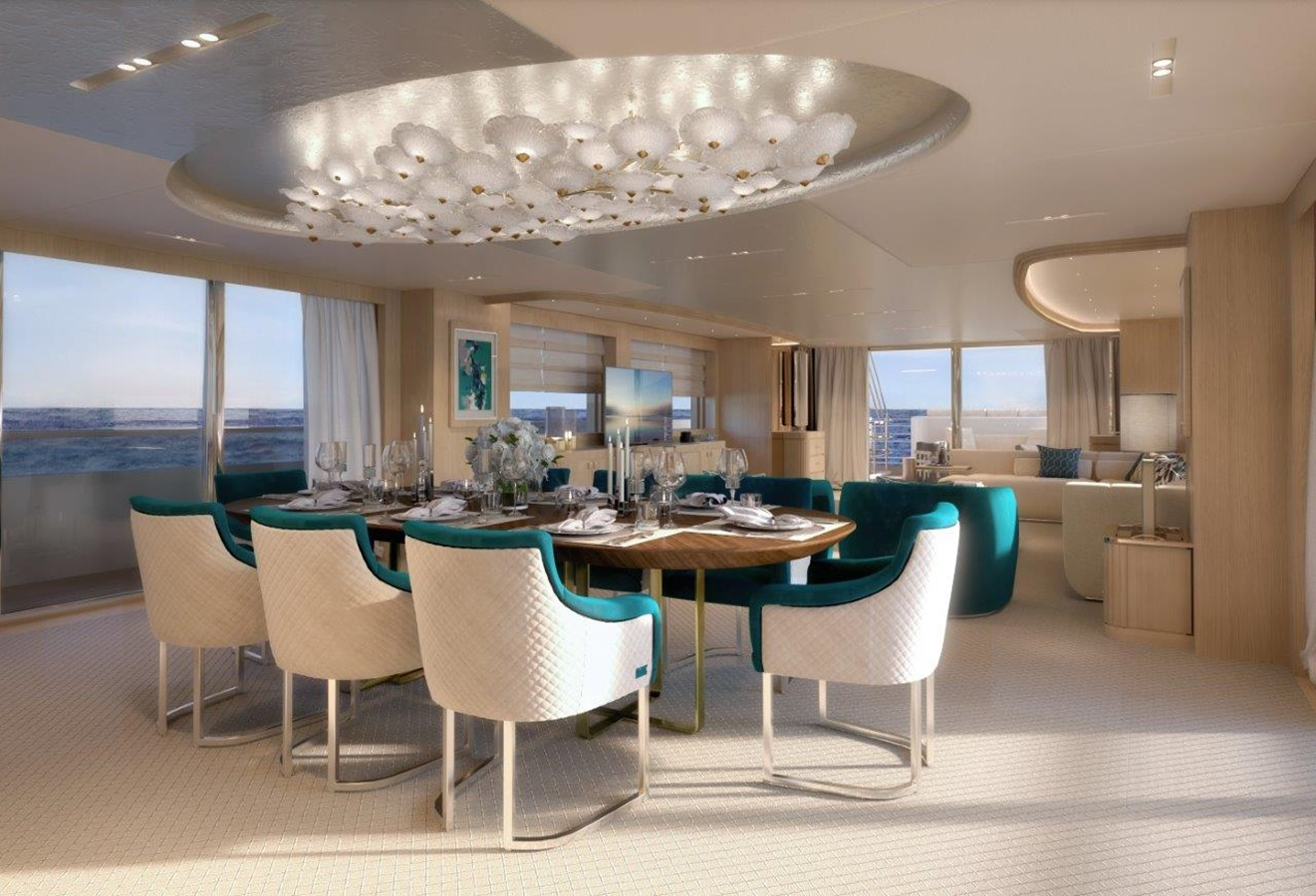 Dining Salon - Classic Interior 2022 BENETTI Steel and Aluminum M/Y Motor Yacht 2604741
