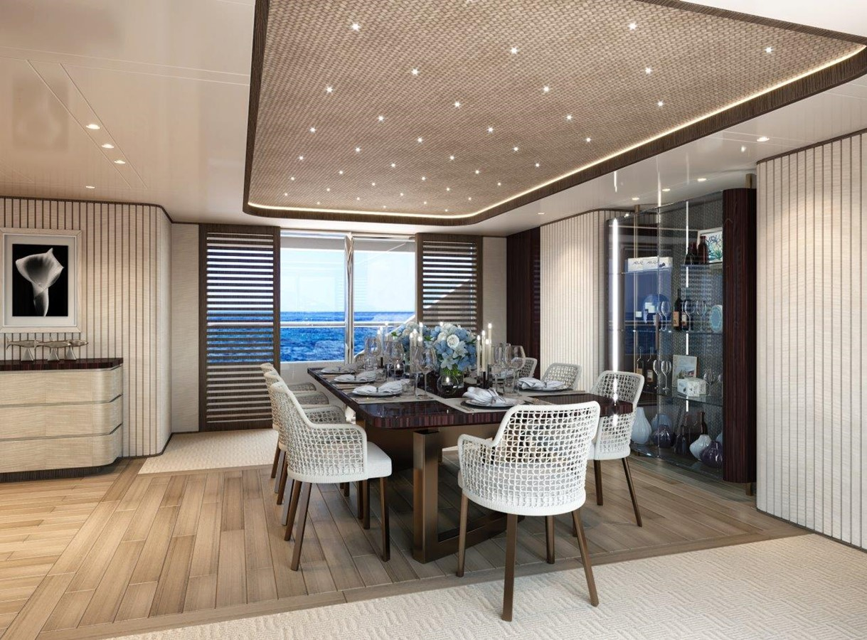 Dining Salon - Contemporary Interior 2022 BENETTI Steel and Aluminum M/Y Motor Yacht 2617391