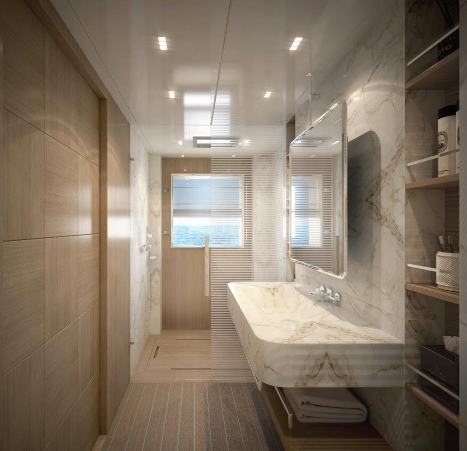 Master Bath - Classic Interior 2022 BENETTI Steel and Aluminum M/Y Motor Yacht 2617400