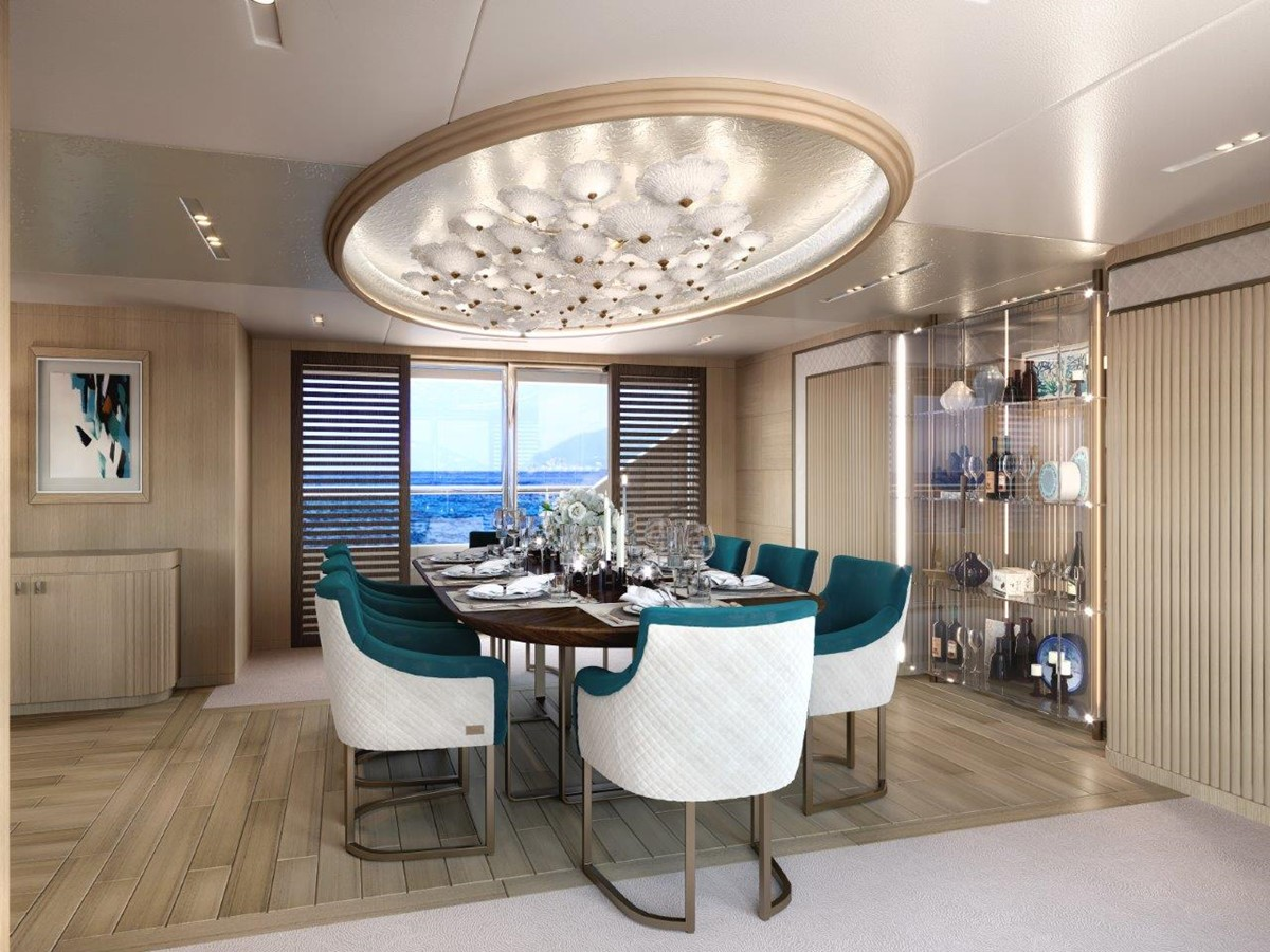 Dining Salon - Classic Interior 2022 BENETTI Steel and Aluminum M/Y Motor Yacht 2617402