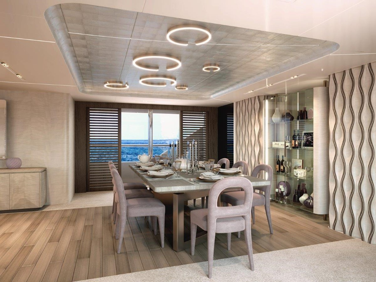 Dining Salon - Modern Interior 2022 BENETTI Steel and Aluminum M/Y Motor Yacht 2617406