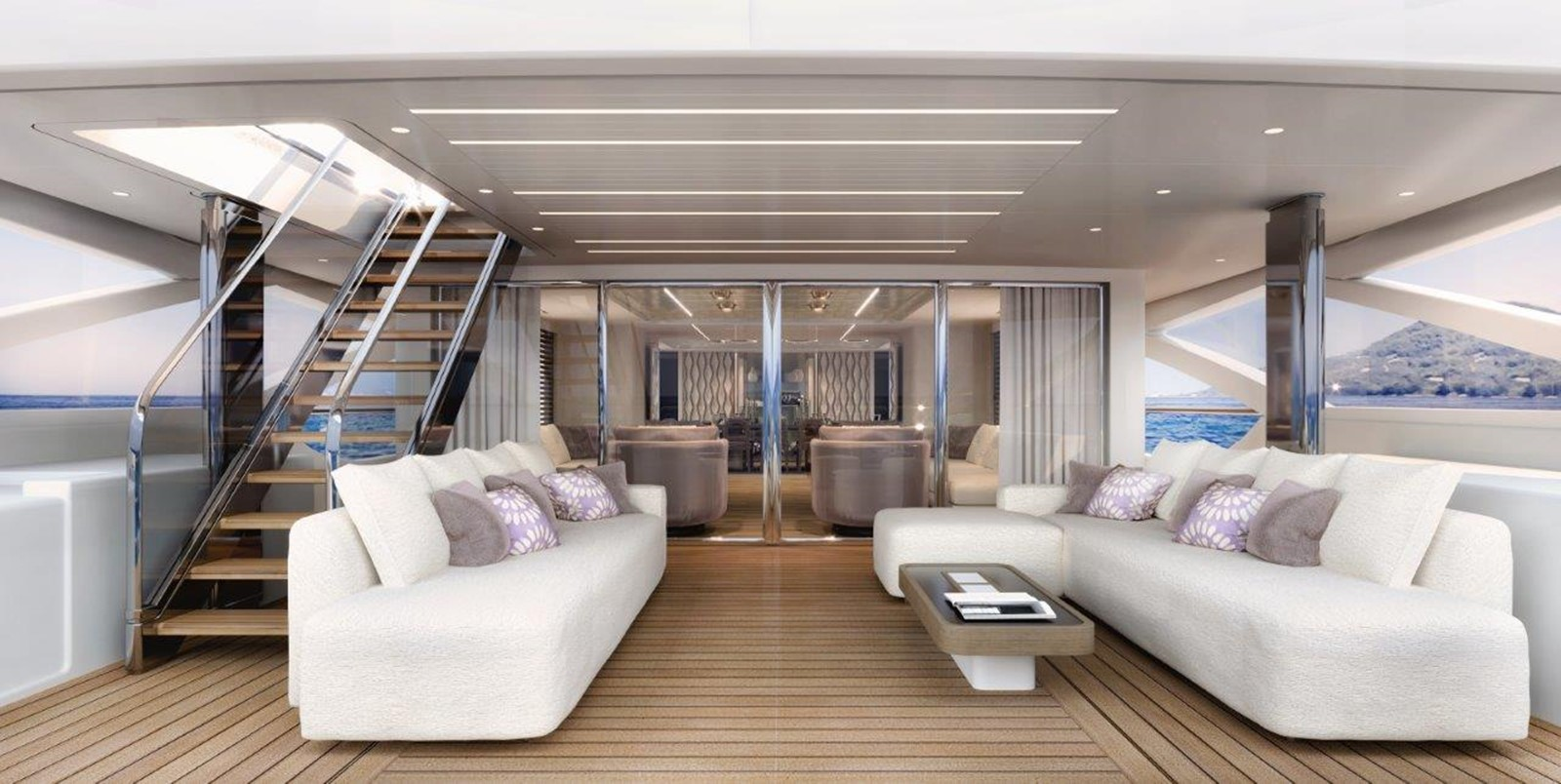 Main Deck Aft - Modern Interior 2022 BENETTI Steel and Aluminum M/Y Motor Yacht 2617407