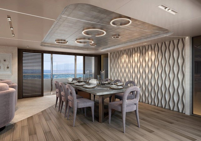 Dining Salon - Modern Interior 2021 BENETTI Steel and Aluminum M/Y Motor Yacht 2604754