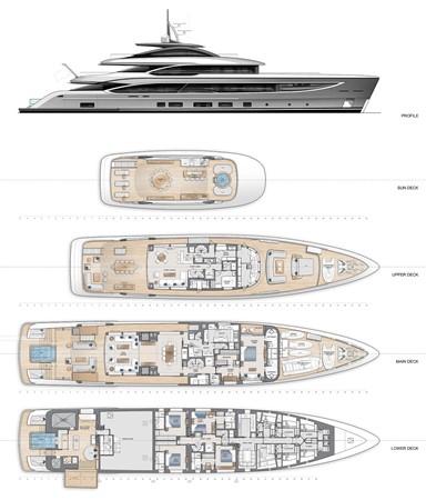 General Arrangement - Standard 2021 BENETTI Steel and Aluminum M/Y Motor Yacht 2613491