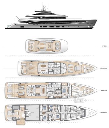 General Arrangement - Option 1 2021 BENETTI Steel and Aluminum M/Y Motor Yacht 2613492