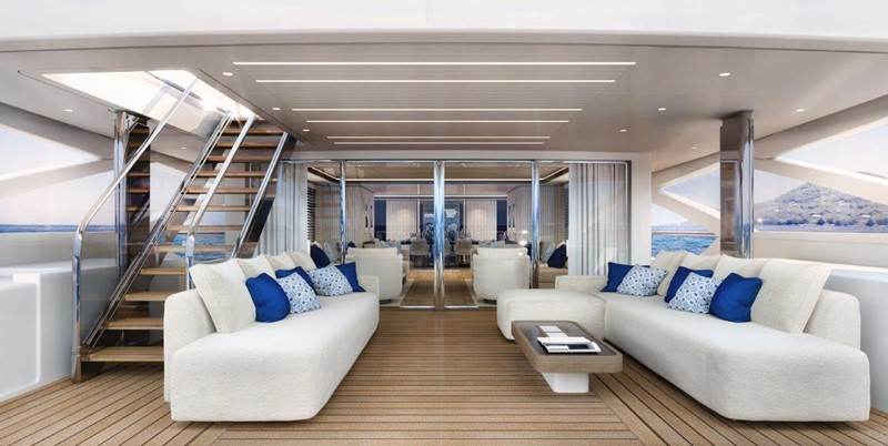 Main Deck Aft - Contemporary Interior 2021 BENETTI Steel and Aluminum M/Y Motor Yacht 2617394