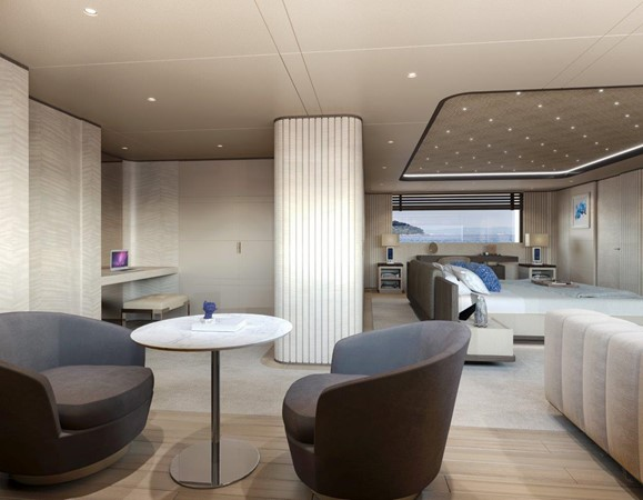 Master Stateroom - Contemporary Interior 2021 BENETTI Steel and Aluminum M/Y Motor Yacht 2617395