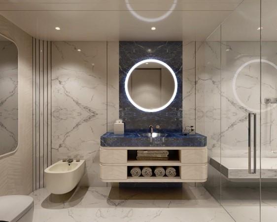 Master Bath - Contemporary Interior 2021 BENETTI Steel and Aluminum M/Y Motor Yacht 2617396