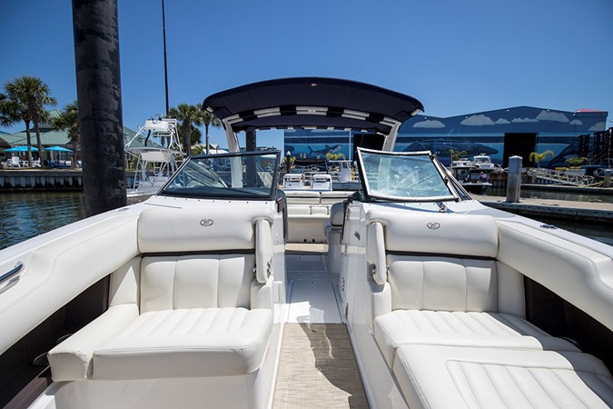 Bow seating area looking aft 2016 COBALT R30 Deck Boat 2605411