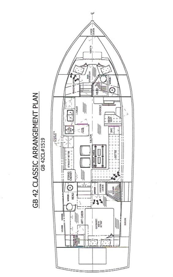 Lena Victoire Arrangement Plan 2003 GRAND BANKS 42 Classic Motor Yacht 2613062