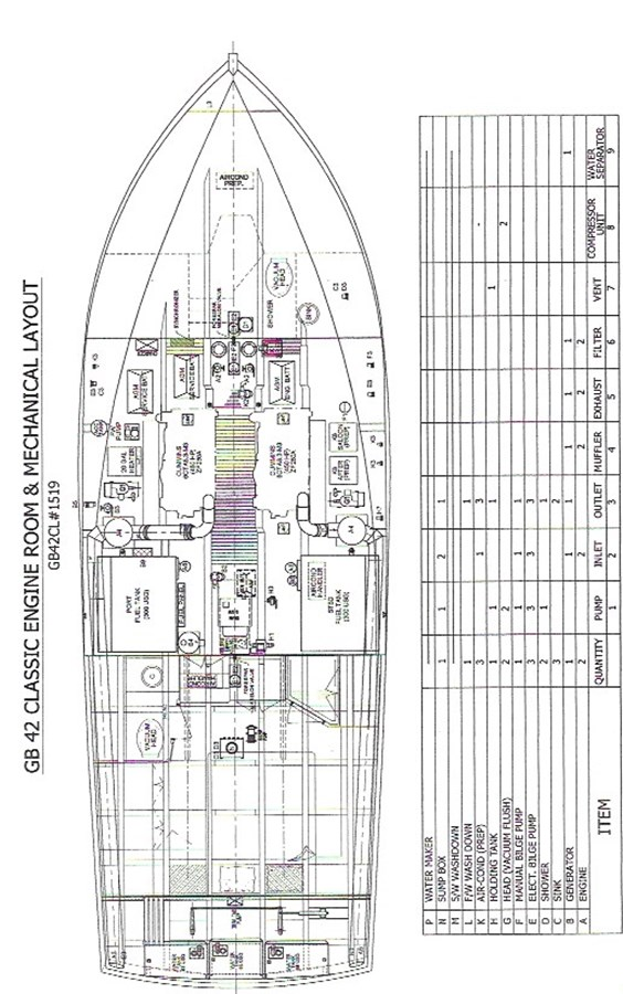 Lena Victoire Engine Rm Plan 2003 GRAND BANKS 42 Classic Trawler 2613063